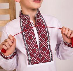 Вышиванка для мальчика с синей и красной вышивкой