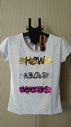 Pakkoo ассортимент турецкая футболка с бусинами голубая и серая