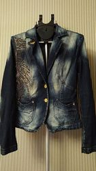 Dishe турция крутой джинсовый пиджак с заклепками и стразами р.46-48