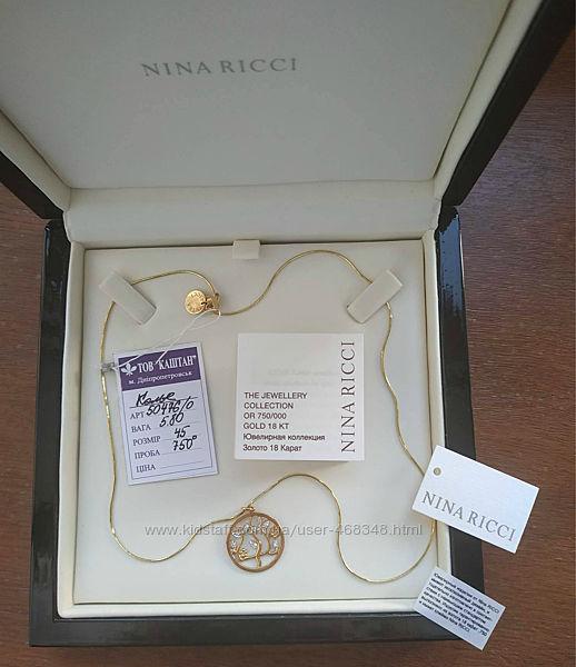 Nina Ricci цепочка с кулоном 750 проба золота