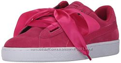 кроссовки с лентами пума, оригинал, Puma Suede Heart Pink
