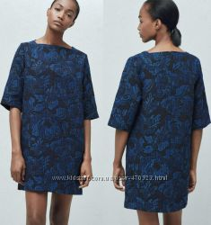 стильна синя ткана сукня М нова бірки Mango