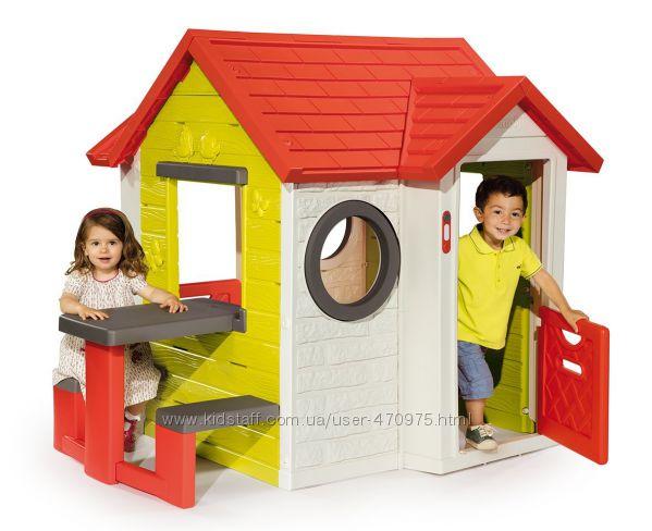 Детский Садовый Домик Smoby со столиком и звонком 810401