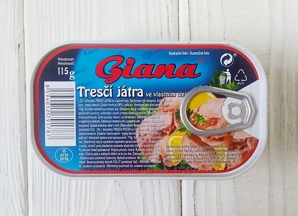 Печень трески в собственном соку Giana 115g Чехия