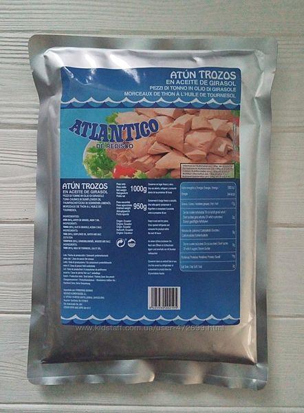 Филе тунца в подсолнечном масле Atlantico de redisco 950/1000g Испания