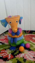 Музыкальная пирамидка с шариками Слоник от Тини лав