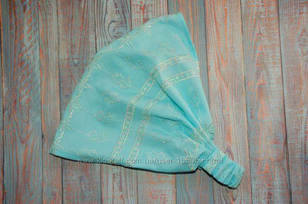 Новинка. Красивая голубая косынка с вышивкой для девочек. Новая.