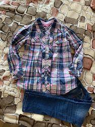 Стильная рубашка под джинсы девочке 110-116