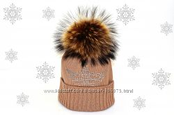 зимняя шапка и шарф с помпоном вяжу на заказ машинная вязка