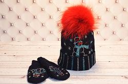 Зимние вязаные шапки для деток и не только