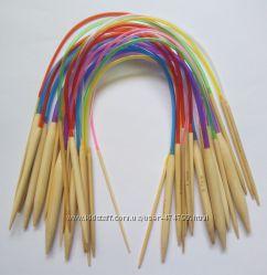 Бамбуковые спицы для вязания 40 см. Набор из 18 размеров