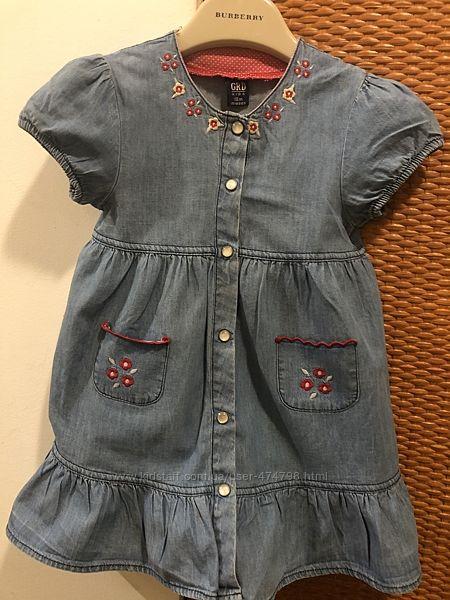 Платье легкий джинс и розовое 18-24 месяца