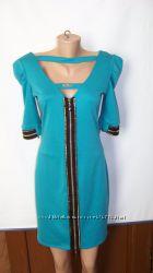 Зелено-бирюзовое двустороннее платье с замками-молниями