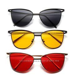 Солнцезащитные очки-лисички с прочной оправой метал и двойными бровями