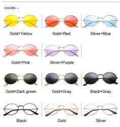 Круглые очки от солнца с тонкой металлической оправой и цветной линзой