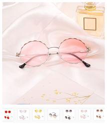 Круглые очки от солнца с волнистой металлической оправой и цветной линзой