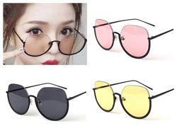 Полуободковые округлые солнцезащитные очки с цветной дымчатой линзой