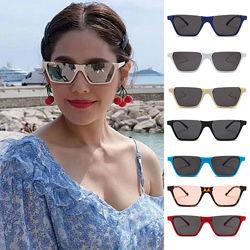 Полуободковые прямоугольные солнцезащитные очки с цветной дымчатой линзой