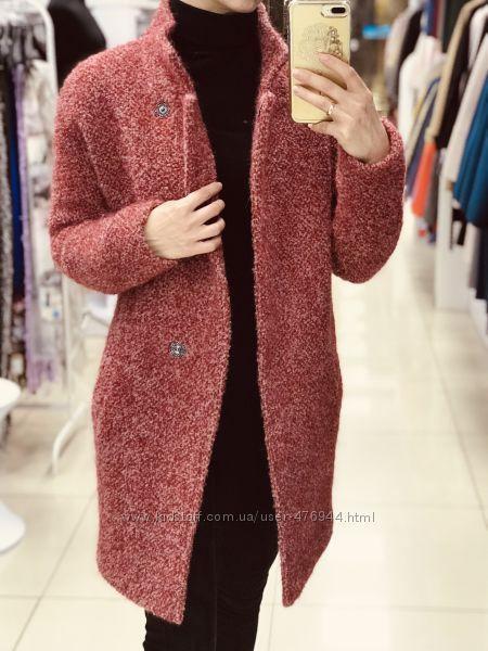 Теплое зимнее пушистое шерстяное пальто оверсайз