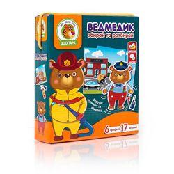 Игра с подвижными деталями Мишка, Гра з рухливими деталями Ведмедик, пр
