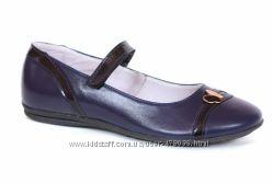 Шикарные синие кожаные туфли Каприз КШ-357