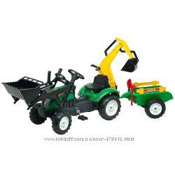 Детский трактор на педалях с прицепом передним и задним ковшами Falk 2052CN