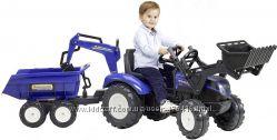 Детский трактор Falk Ranch 3090W на педалях с прицепом передним и задним ко