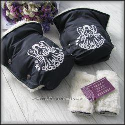 Муфта на коляску на овчине и накладки на ручки, муфта с вышивкой