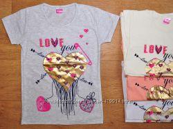 Яркие, модные футболки для девочки, Турция, от 5 до 9 лет