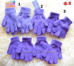 трикотажные перчатки и варежки  для девочек разные виды