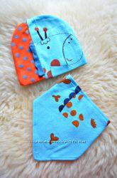 набор для деток до 1 года шапка и платочек на шею