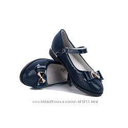 Шикарные туфли для школы синего цвета