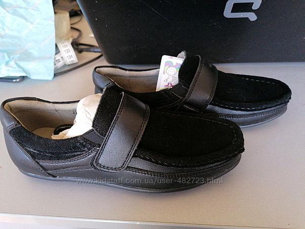 Детские чёрные замшевые туфли для мальчика р.34
