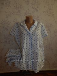 Marks&Spencer пижама батистовая рубашка с бриджами р22 большой размер