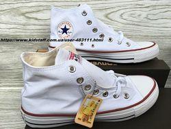 Белые высокие конверсы, размеры 35-46. Кеды Converse All Star Chuck Taylor