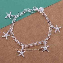 Женский браслет Морская Звезда, покрытие серебро 925