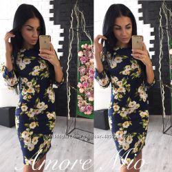 Платье миди принт цвет яблони код 228