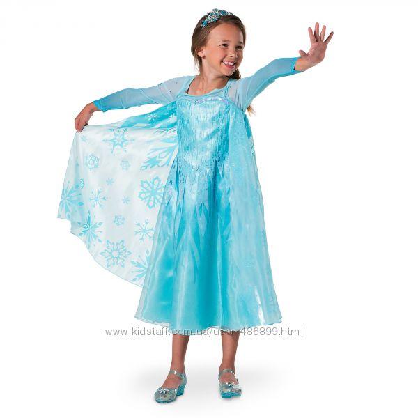 Платье Эльзы на рост 125-135, 135-145, 145-155 см. Disneystore.