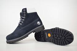 Зимние женские ботинки Timberland темно синие нубук