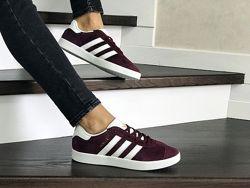 Кроссовки женские Adidas Gazelle бордовые 8500