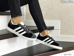Кроссовки женские Adidas Gazelle черно серые 8496