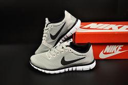 Кроссовки сетка Nike Free Run 3.0, серый 36-40р