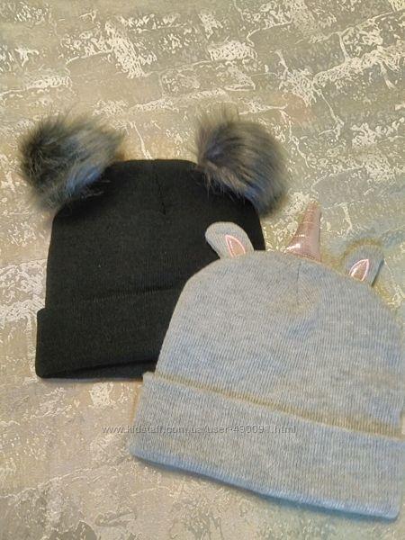 Зимние и демисезонные шапки для девочек, р. 54-55.