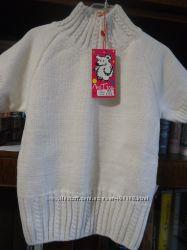 Вязаная кофта белая с люрексом с коротким рукавом фирмы Лютик на 4-7 лет