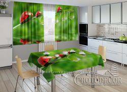 3D Фото комплекты в кухню шторы  скатерть под ндивидуальный размер