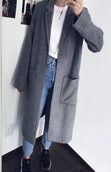 Серое свободное пальто кардиган с разрезами H&M