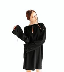 Чёрное платье кокон со сборками длинными рукавами &other stories