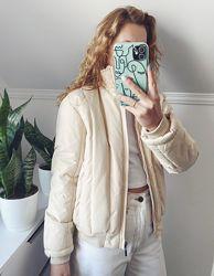 Винтажная бежевая демисезонная короткая дутая куртка new way