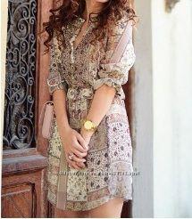 красивое романтичное в рюшики миди платье Zara