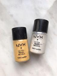 Перламутровые рассыпчатые тени Nyx цвета золото и жемчужный